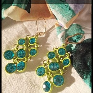 Jewelry - 📣BLOW OUT! Lime/Turquoise Chandelier Earrings New